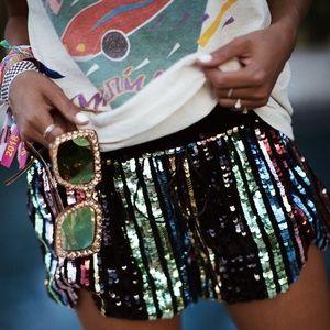 Size L Rainbow Sequin LPA Shorts